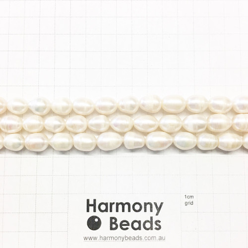 Natural Cultured Freshwater Oval Pearls, ~9x12mm