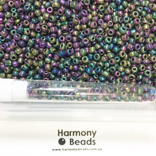Glass Seed Beads 6/0 Metallic Purple Iris