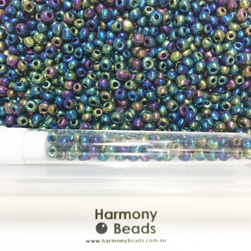 Glass Seed Beads 6/0 Metallic Green Iris