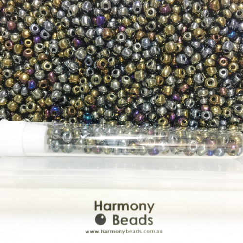 Glass Seed Beads 6/0 Metallic Bronze Iris
