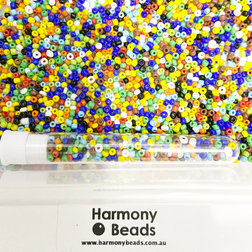 Glass Seed Beads 8/0 OPAQUE MIXED COLOURS [5 gram tube]