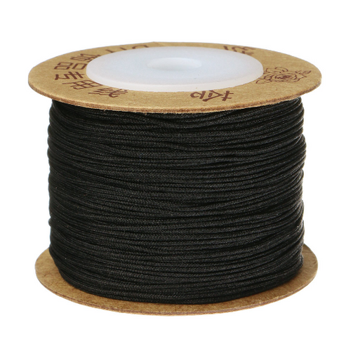 Macrame / Chinese Knotting Cord, Black, 0.6mm (120 metres Spool)