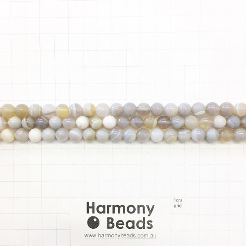 Agate Smooth Round Beads, Natural, Grey 8mm