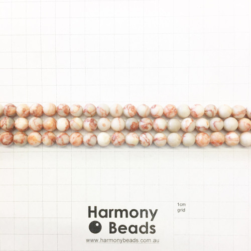 Red Netstone Smooth Round Beads, Natural, 8mm