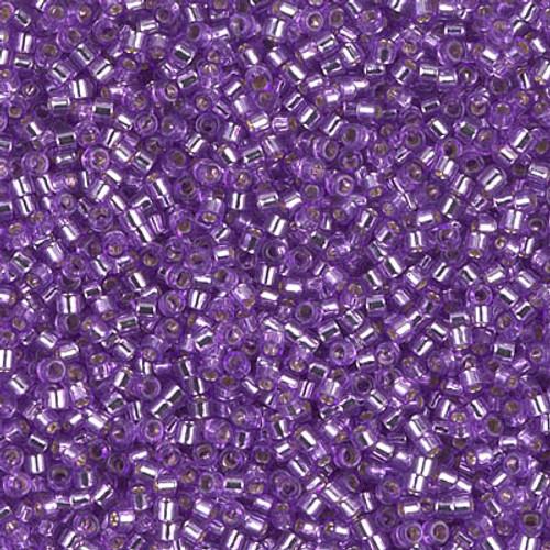 Miyuki Delica Beads 11/0 DB1343 Dyed Silver Lined Lavender 7.2 grams