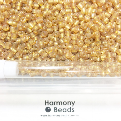 Glass Seed Beads 6/0 DARK GOLD SILVER-LINED [5 gram tube]