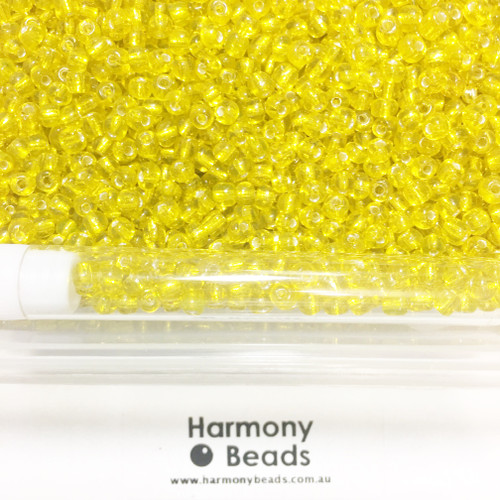 Glass Seed Beads 6/0 YELLOW SILVER-LINED [5 gram tube]