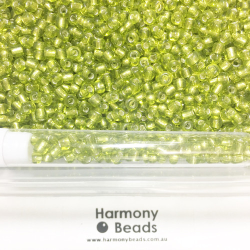 Glass Seed Beads 6/0 YELLOW GREEN SILVER-LINED [5 gram tube]