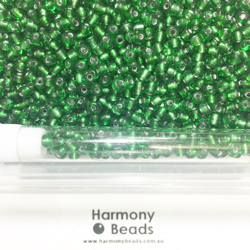 Glass Seed Beads 6/0 GREEN SILVER-LINED [5 gram tube]
