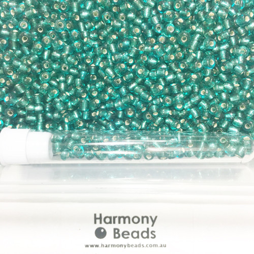 Glass Seed Beads 8/0 TEAL SILVER-LINED [5 gram tube]