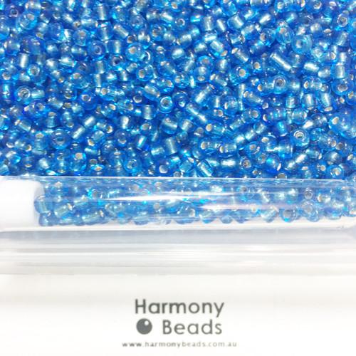 Glass Seed Beads 6/0 DARK AQUA BLUE SILVER-LINED [5 gram tube]