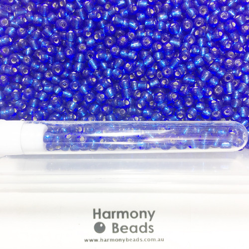 Glass Seed Beads 6/0 ROYAL BLUE SILVER-LINED [5 gram tube]