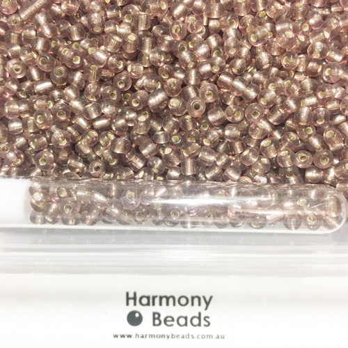 Glass Seed Beads 6/0 AMETHYST SILVER-LINED [5 gram tube]