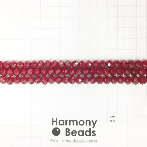 Faceted Glass Abacus Beads, Opaque Dark Red, 8x6mm