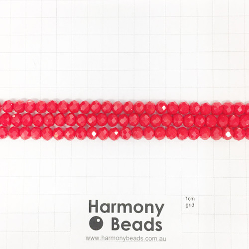 Faceted Glass Abacus Beads, Opaque Bright Red, 8x6mm