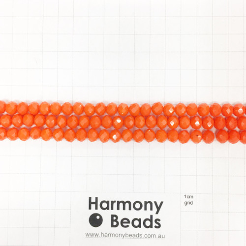 Faceted Glass Abacus Beads, Opaque Red Orange, 8x6mm