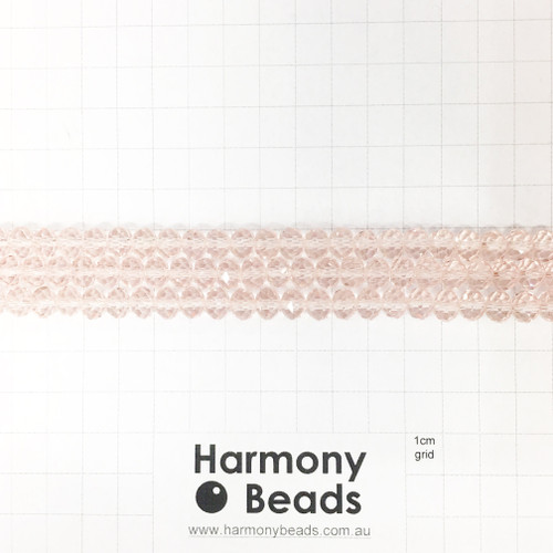 Faceted Glass Abacus Beads, Light Rose Pink, 8x6mm