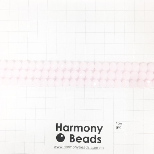 Faceted Glass Abacus Beads, Milky Light Pink, 8x6mm