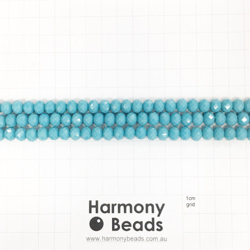 Faceted Glass Abacus Beads, Opaque Duck Blue, 8x6mm