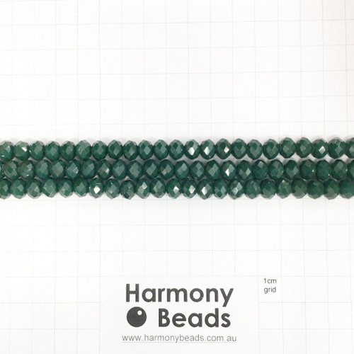 Faceted Glass Abacus Beads, Opaque Dark Green, 8x6mm