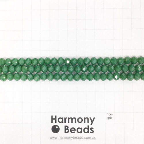 Faceted Glass Abacus Beads, Opaque Fern Green, 8x6mm