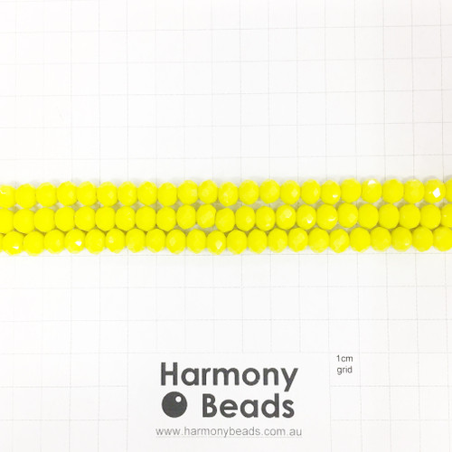Faceted Glass Abacus Beads, Opaque Neon Fluoro Yellow, 8x6mm