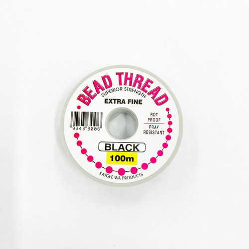Bead Thread (Click in for Size / Thickness) BLACK, 100m