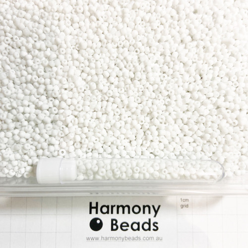 Glass Seed Beads 8/0 White Opaque [5 gram tube]