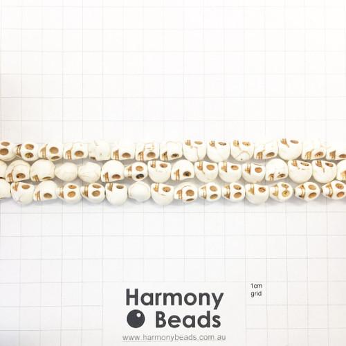 Howlite Shaped Beads , Skulls, Natural Cream (N), 8x10mm