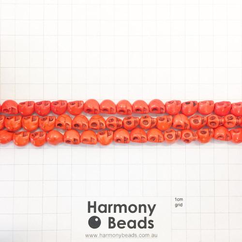 Howlite Shaped Beads , Skulls, Orange (S,D), 8x10mm