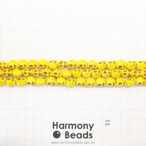 Howlite Shaped Beads , Skulls, Yellow (S,D), 8x10mm