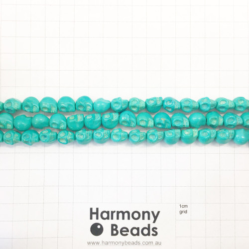 Howlite Shaped Beads , Skulls, Turquoise Teal (S,D), 8x10mm