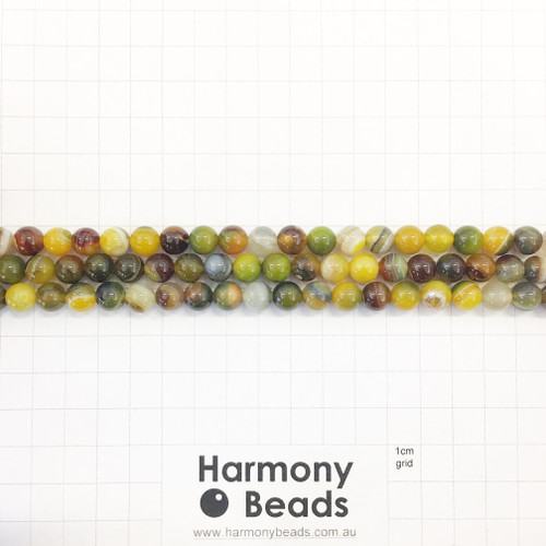 SPS Striped Agate Smooth Round Beads, Yellow Olive, 8mm