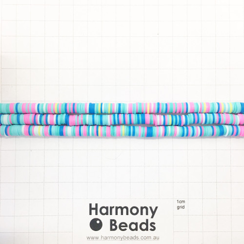 Polymer Clay Heishi Flat Disc Spacer Beads 6mm OPAQUE TROLLS BUBBLEGUM MIX