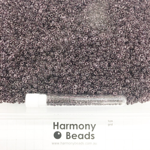 Glass Seed Beads 8/0 Inside Colour-Lined Clear with Black [5 gram tube]