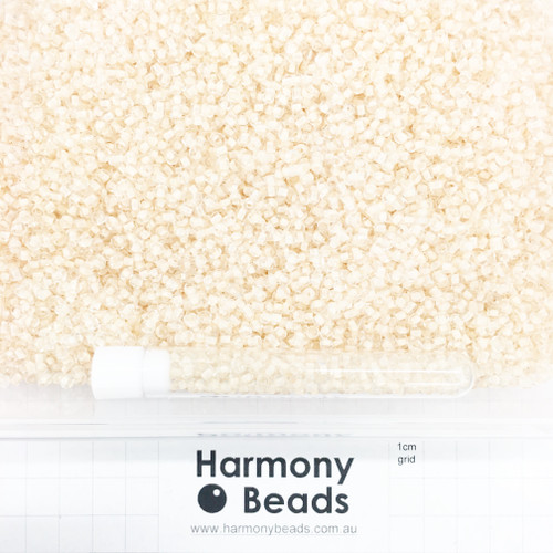 Glass Seed Beads 8/0 Inside Colour-Lined Clear with Beige Nude [5 gram tube]