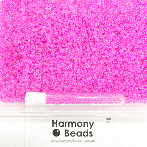 Glass Seed Beads 8/0 Inside Colour-Lined Clear with Hot Pink [5 gram tube]