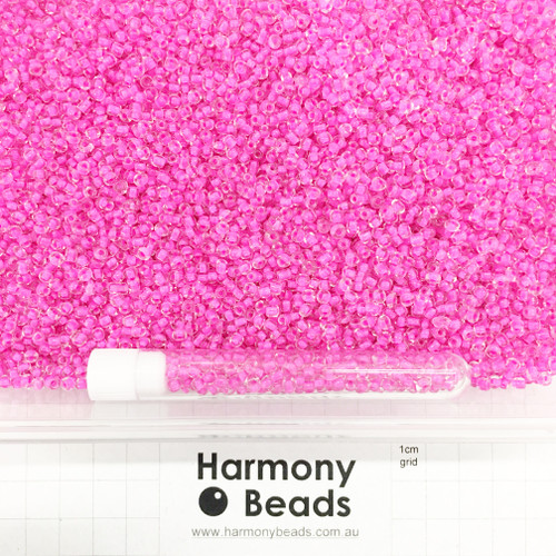 Glass Seed Beads 8/0 Inside Colour-Lined Clear with Camilla Pink [5 gram tube]