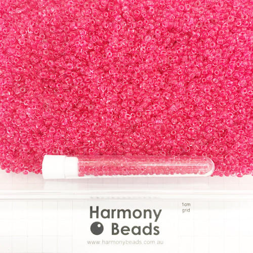 Glass Seed Beads 8/0 Inside Colour-Lined Clear with Raspberry Red [5 gram tube]