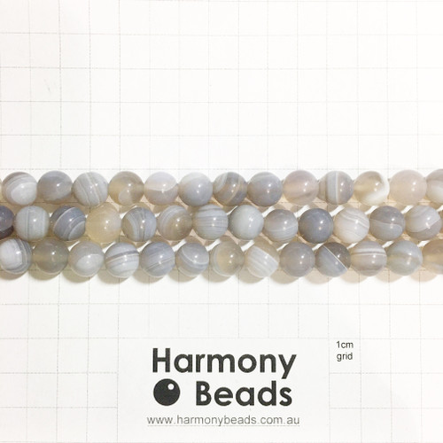 Agate Smooth Round Beads, Natural, Grey 10mm