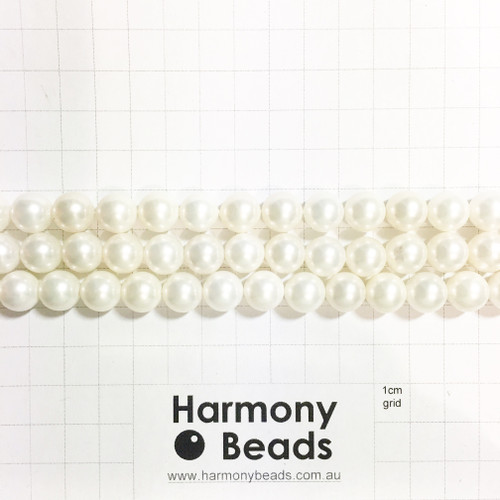 Shell Based Pearls Smooth Round, Natural White, 10mm