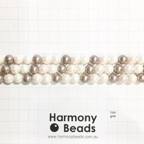 Shell-Based Pearls Smooth Round, 8mm, Neutral Blush Latte Mix