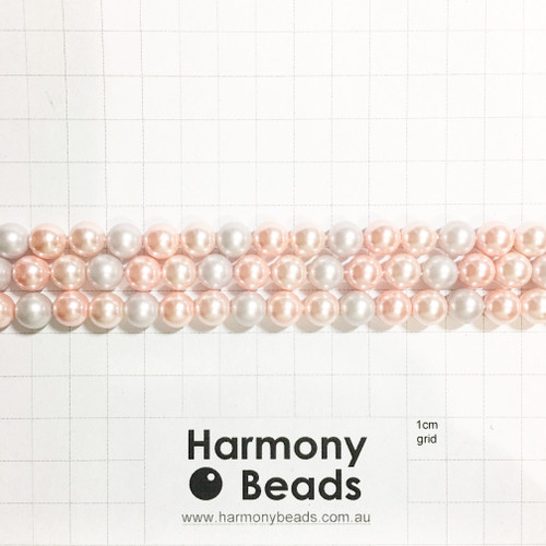 Shell-Based Pearls Smooth Round, 8mm, Pastel Rose Pink Lilac Mix