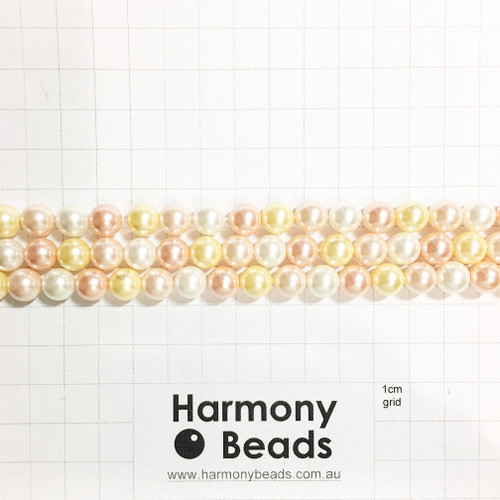 Shell-Based Pearls Smooth Round, 8mm, Bright Rose Light Gold White Mix