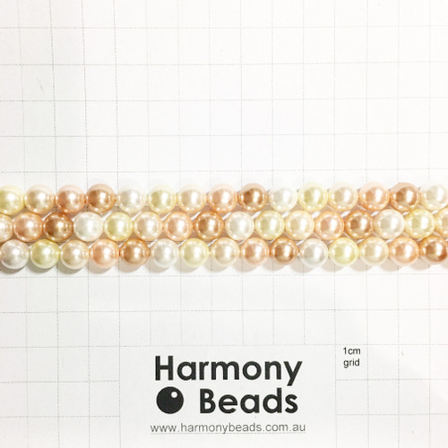 Shell-Based Pearls Smooth Round, 8mm, Vintage Rose Light Gold White Mix