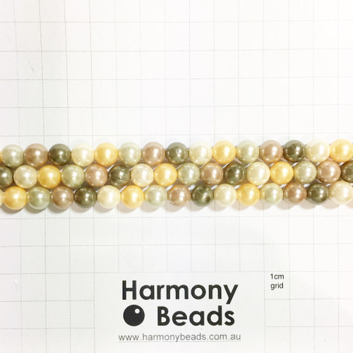 Shell-Based Pearls Smooth Round, 8mm, Golden Cream Olive Mix