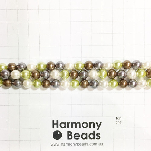 Shell-Based Pearls Smooth Round, 8mm, Grey Brown Pistachio Green Mix