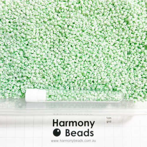 STRIPED Glass Seed Beads 8/0 Mint Green & White Striped