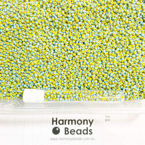 STRIPED Glass Seed Beads 8/0 Sky Blue & Yellow Striped