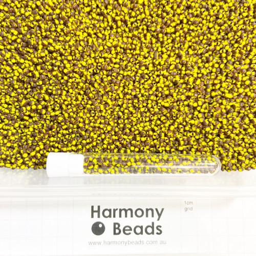 STRIPED Glass Seed Beads 8/0 Yellow & Dark Brown Striped